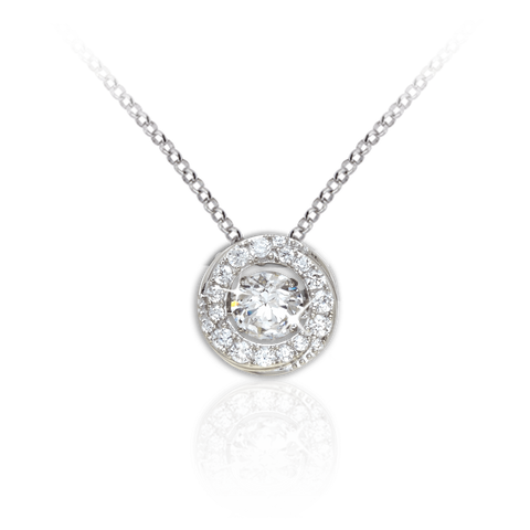 Halo Pendant with twisted detailing and Swarovski Zirconia