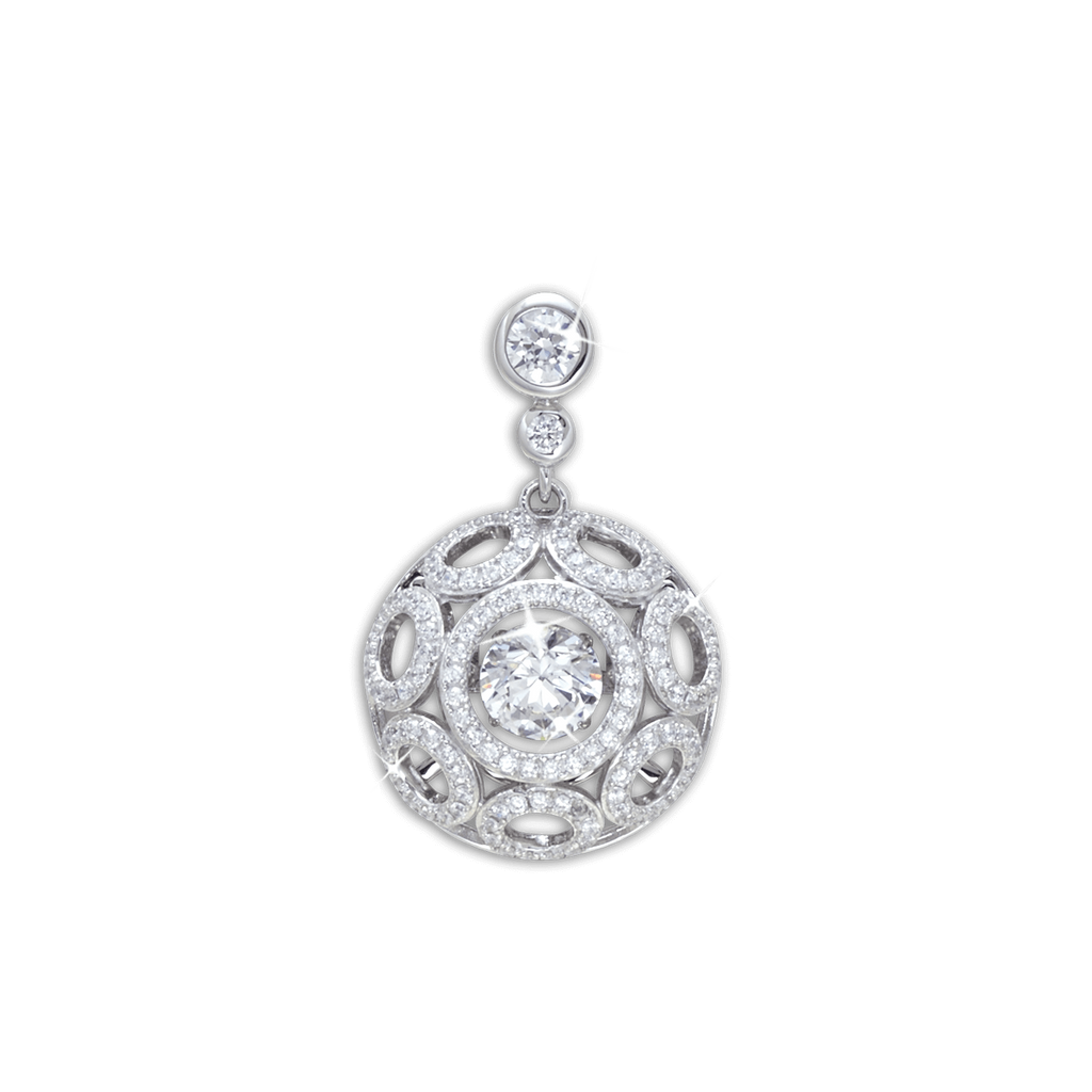 Large round Pendant with circlet detailing and Swarovski Zirconia