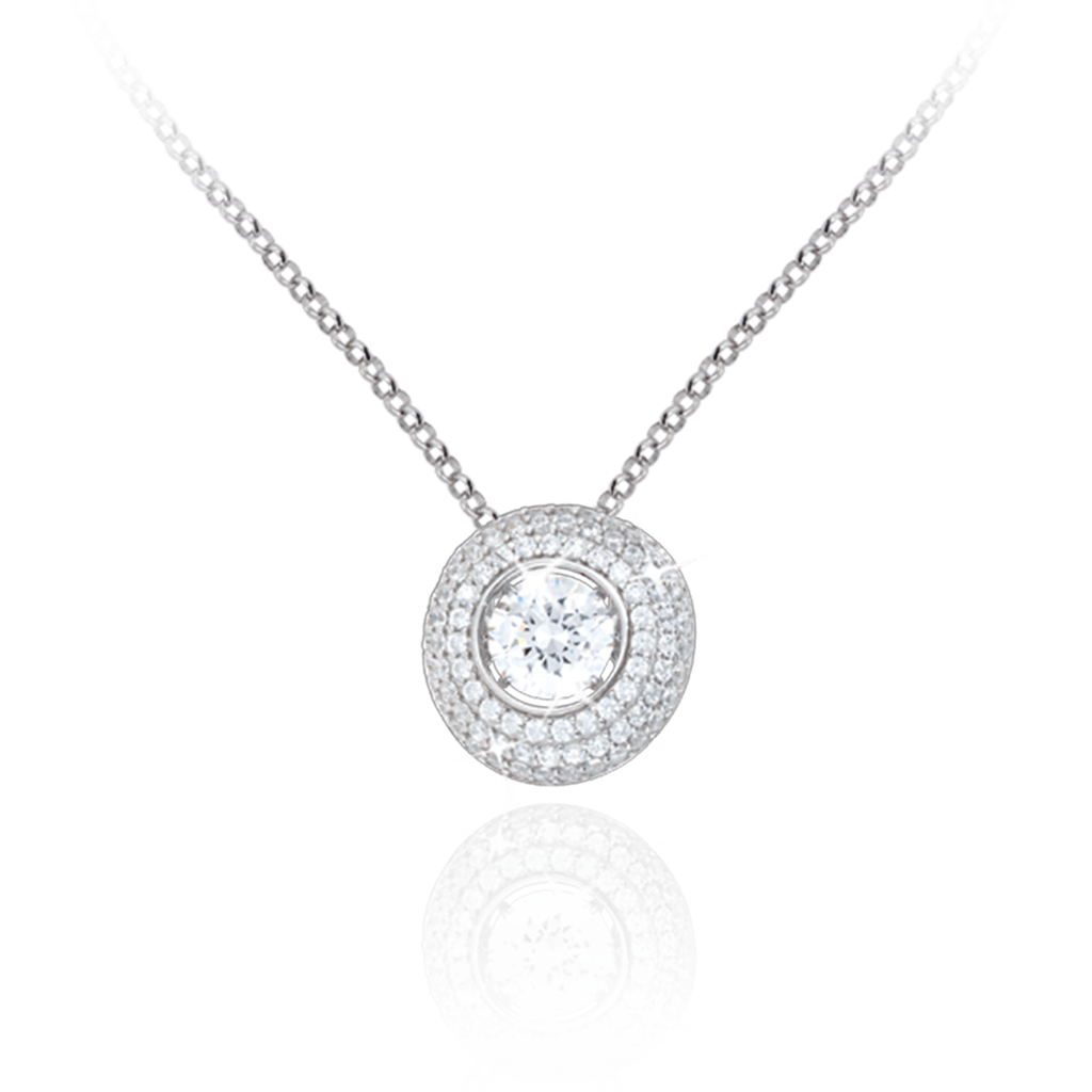 Halo Pendant with Cushion Cut and round Zirconia drop