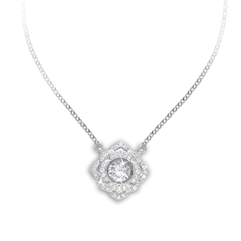 Square design Pendant with Vintage Rose style and Swarovski Zirconia