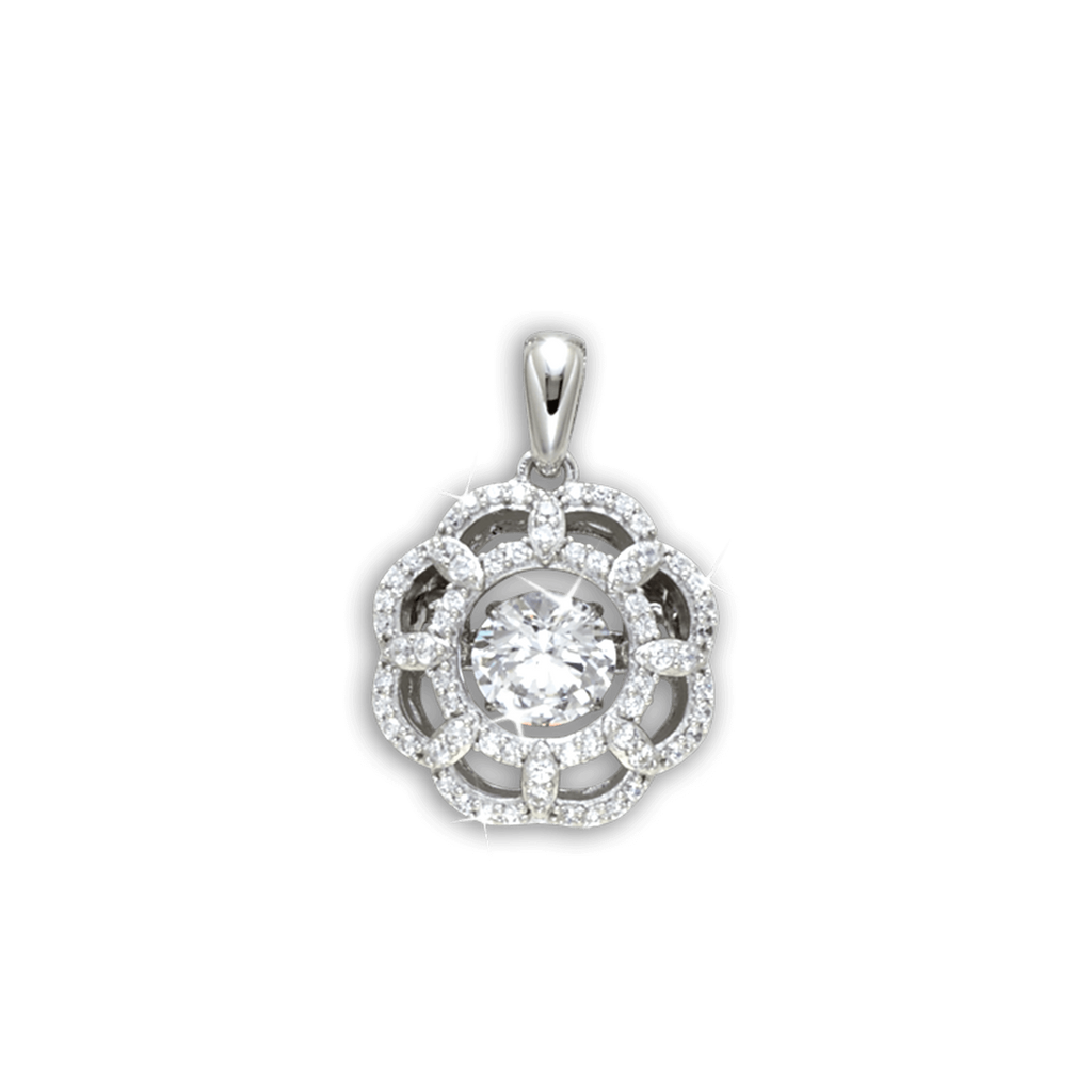 Large Fancy Flower design Pendant with Swarovski Zirconia