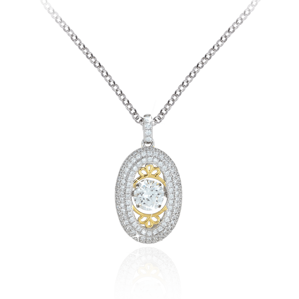 Large Vertical Oval Pendant with Traditional style detailing and Swarovski Zirconia