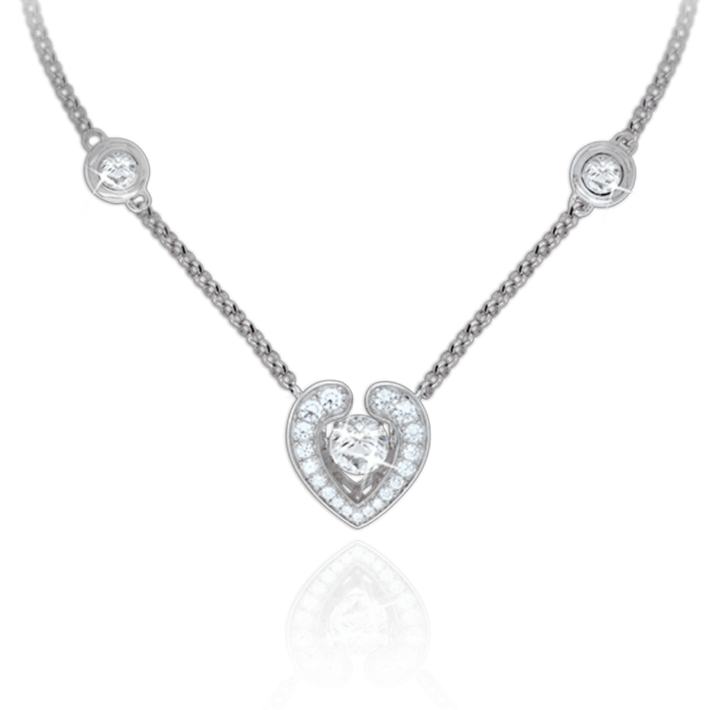Open Heart Pendant with fixed Swarovski Zirconia details in chain