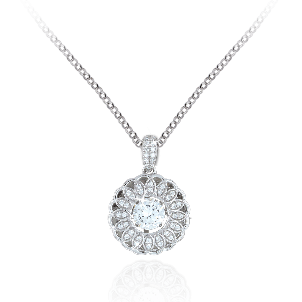 Sunflower Pendant with Swarovski Zirconia