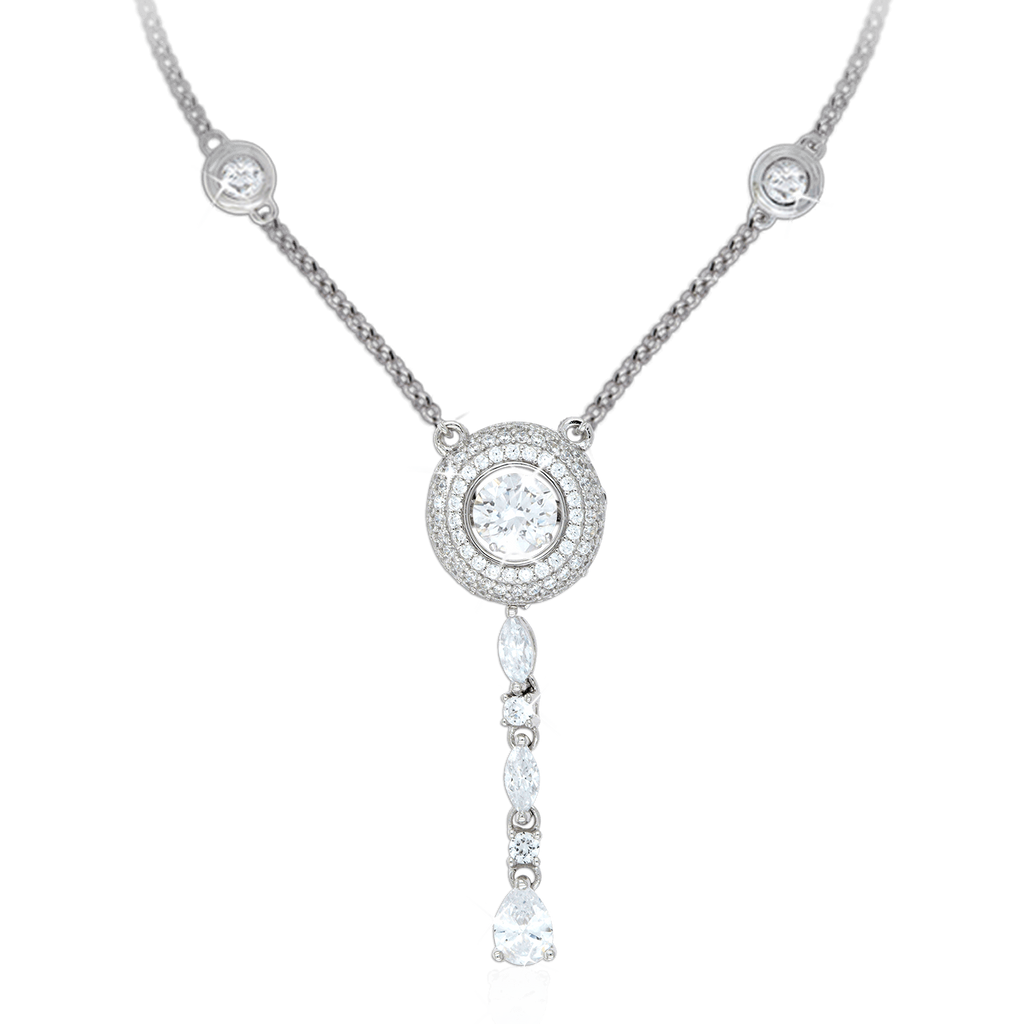 Halo Pendant with Marquise + Pear drop and fixed Swarovski Zirconia details in chain