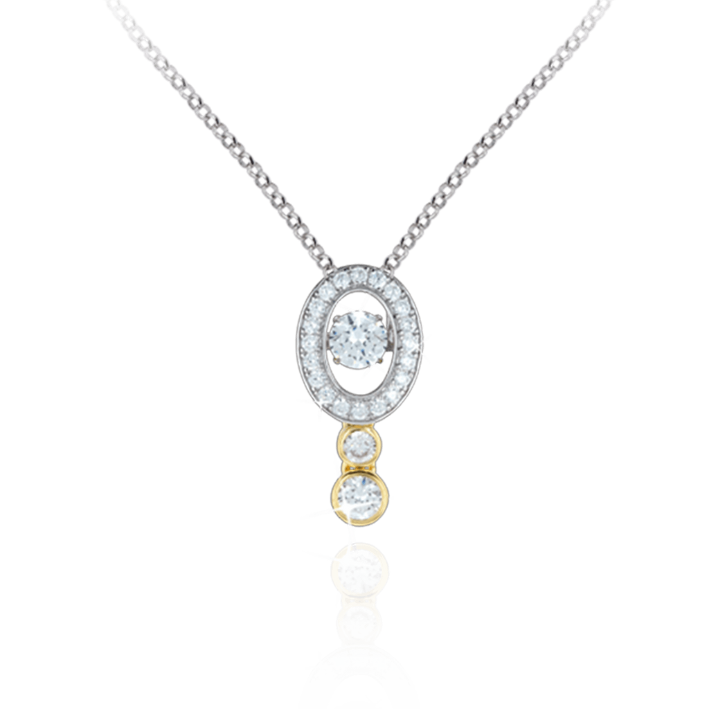 Vertical Oval Pendant with double Swarovski Zirconia round drop