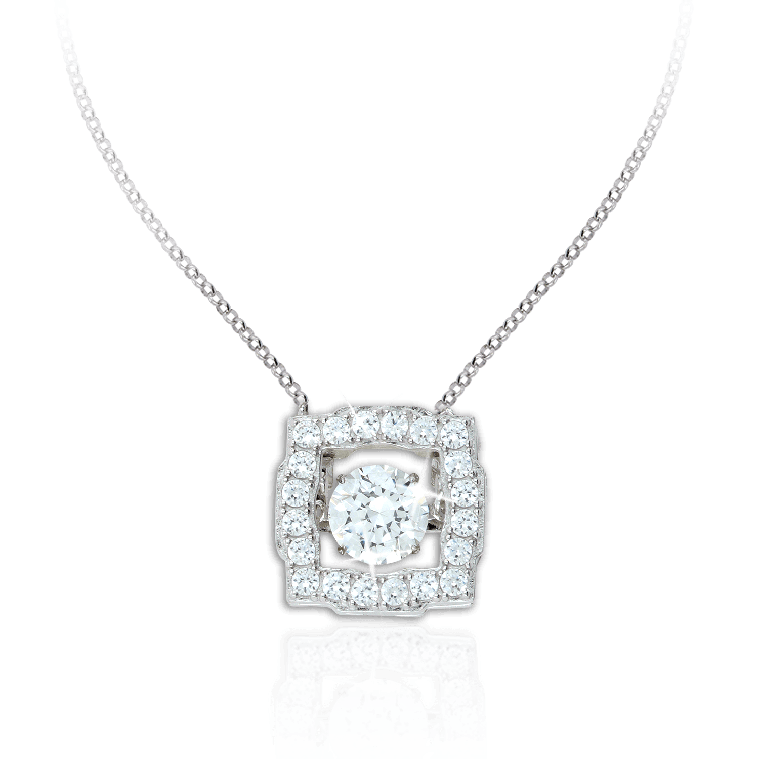 tw diamond center bail pendant simulated cushion halo veneer double square ct