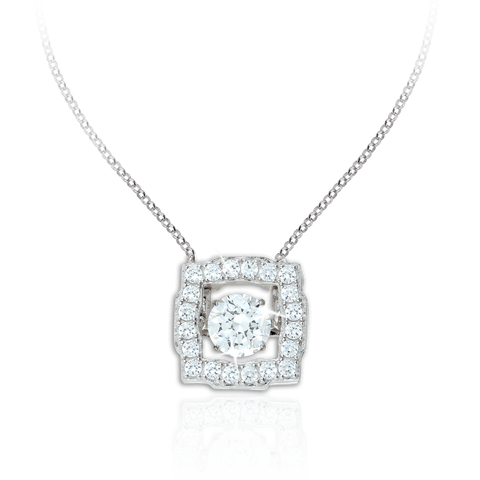Large Square design Pendant with Swarovski Zirconia