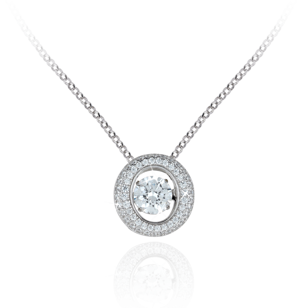 Large Round Pendant with Oval Halo and Swarovski Zirconia