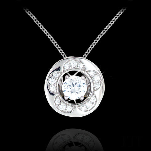 Flower Accented Halo Pendant