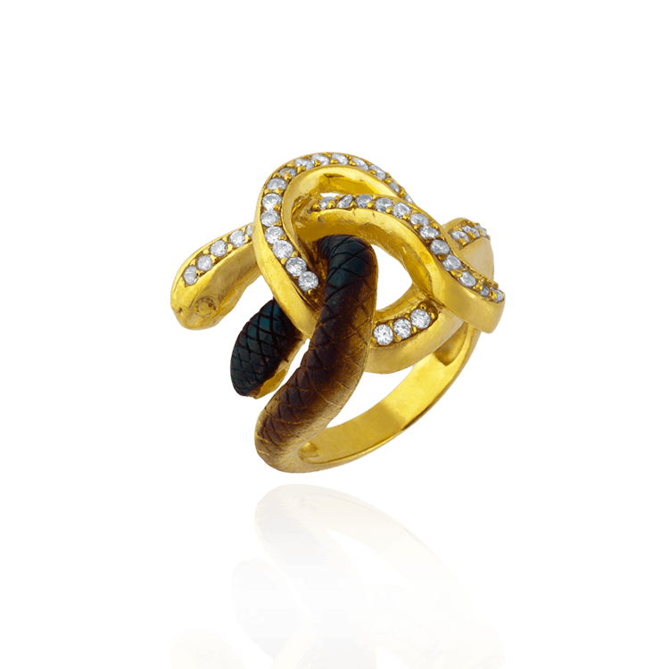 Ember Knotted Snake Ring