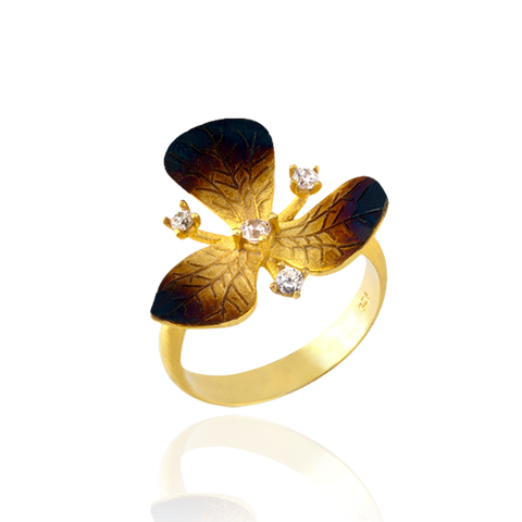 Three Petal Ember Orchid Ring