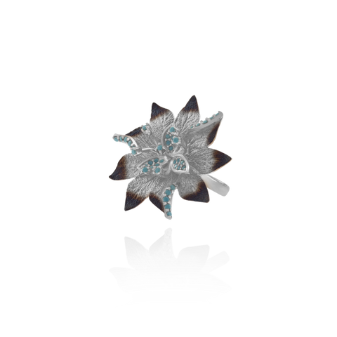 Ember Desert Flower with Sparkling Blue Accents Ring
