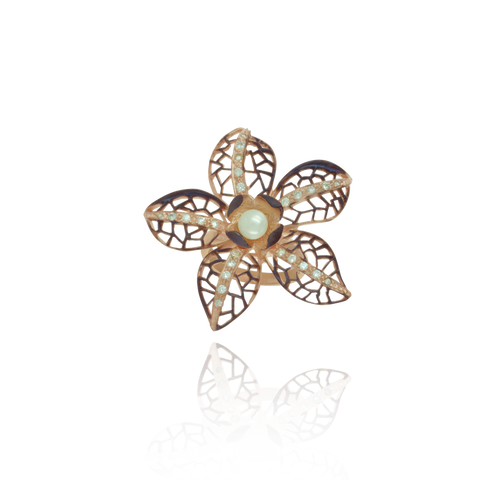 Ember Filigree Flower with Pearl Center and Sparkling Petals Ring