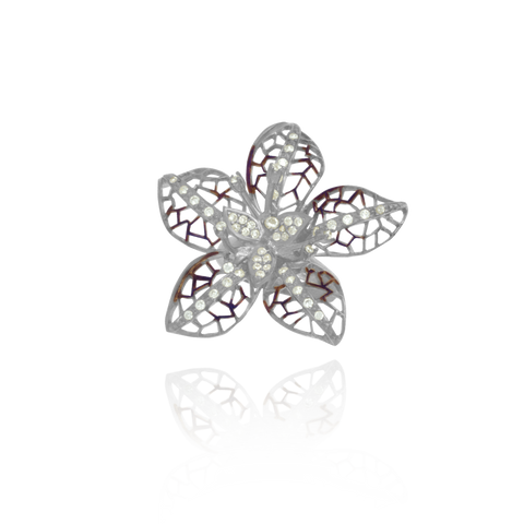 Ember Filigree Flower with Sparkling Petals Ring