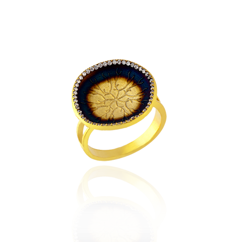 Ring with Coral Imprinted Disc