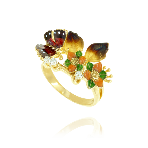 Enamel Flower and Butterfly Ring