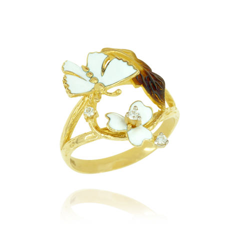 Glowing Enamel Flower and Butterfly Ring