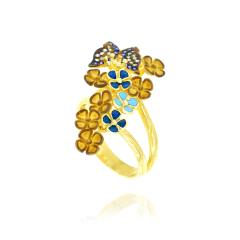 Sparkling Butterfly and Enamel Ring