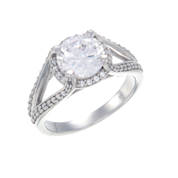 Split Band Sparkling Oval Ring with Halo