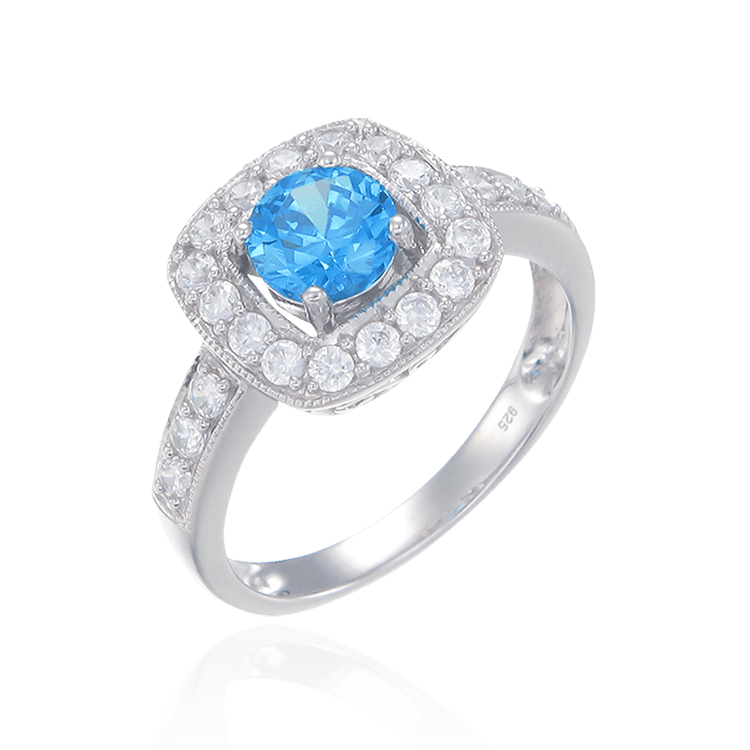 Stunning Blue Ring with Halo