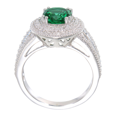 Green Alpinite Double Halo Ring