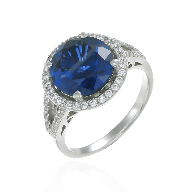 Classic Round Blue Sapphire Ring with Halo