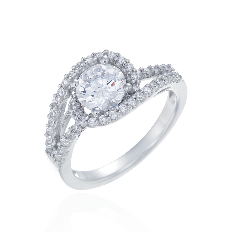 Sparkling Accented Ring with Spiral Design