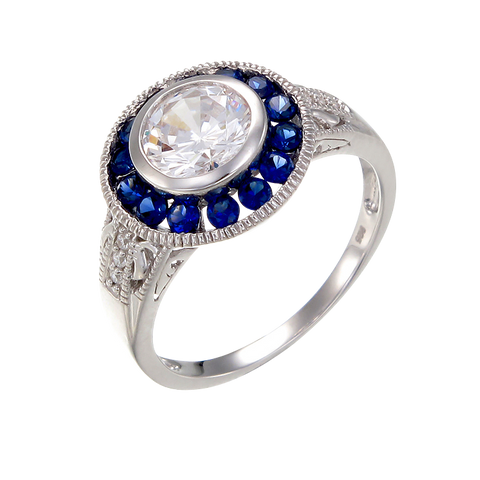 Vintage Inspired Bezel Setting Ring with Blue Sapphire Halo