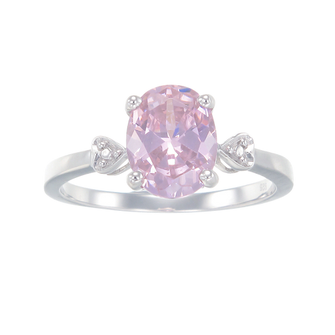 Elegant Pink Sparkling Ring with Heart Detail