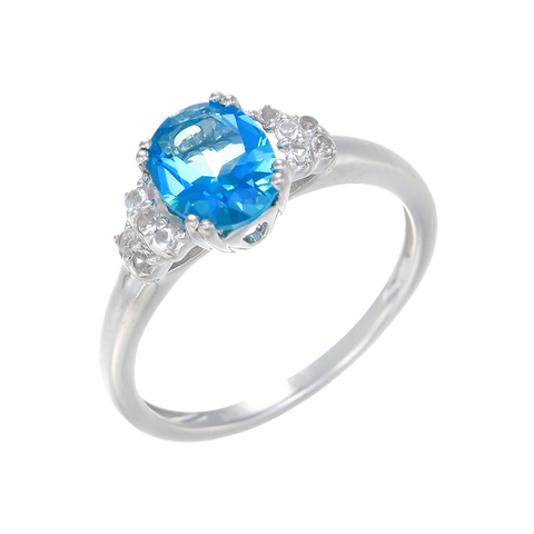 Gorgeous Cluster Ring with Passion Topaz and Natural White Topaz