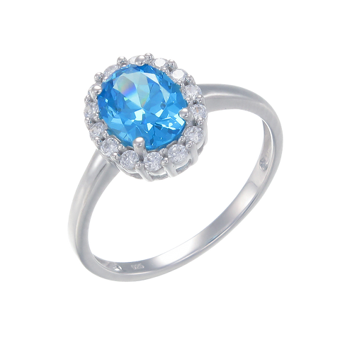 Delicate Sparkling Blue Ring with Halo
