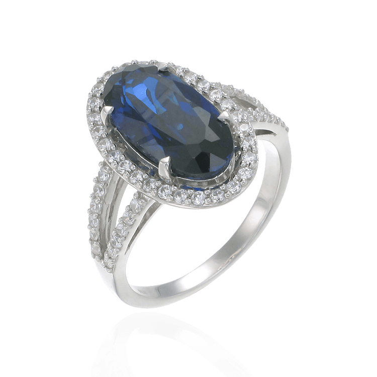 Oval Blue Sapphire Ring with Halo