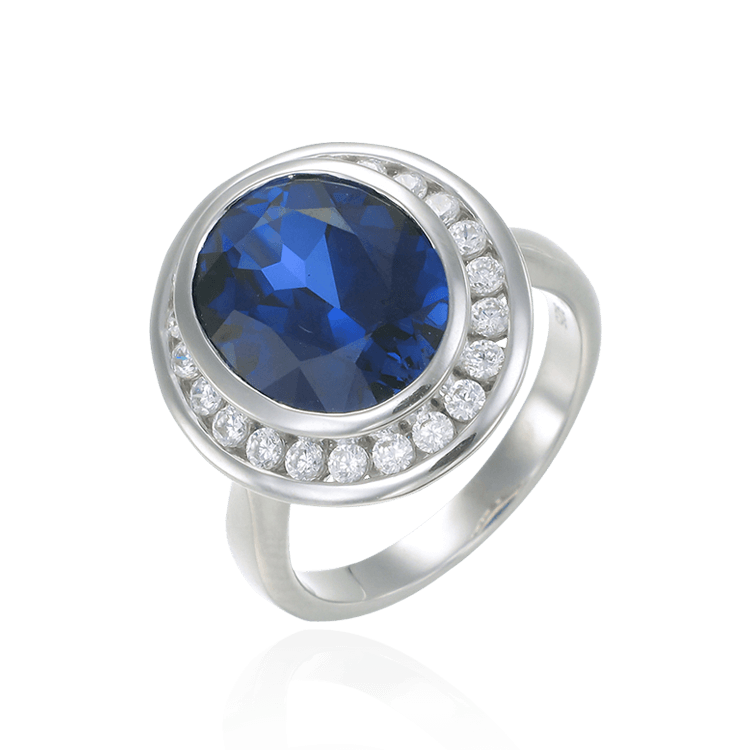 Regal Blue Sapphire Oval Ring