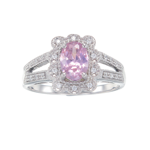 Scalloped Halo Pink Ring