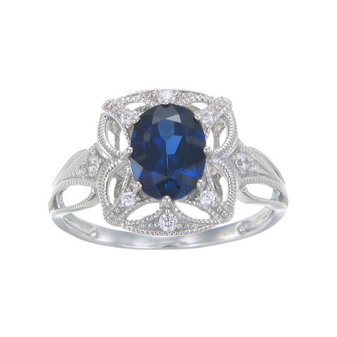 Graceful Blue Sapphire Ring with Filigree Detail