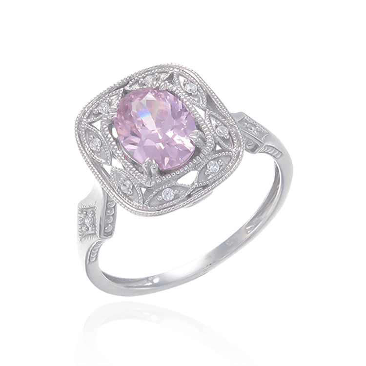 Deco Inspired Pink CZ Ring