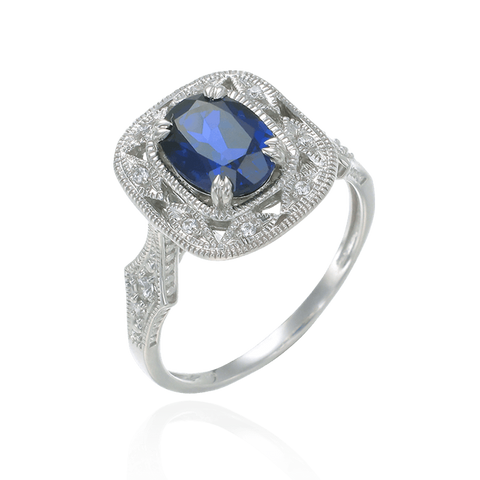 Deco Inspired Blue Sapphire Ring