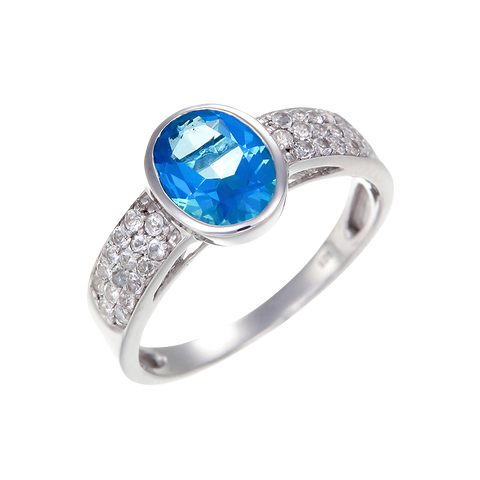 Classic Passion Topaz and Natural White Topaz Ring