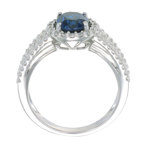 Oval and Pave Ring with Blue Sapphire