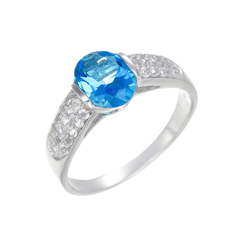 Elegant Pave Accented Ring with Passion Topaz and Natural White Topaz