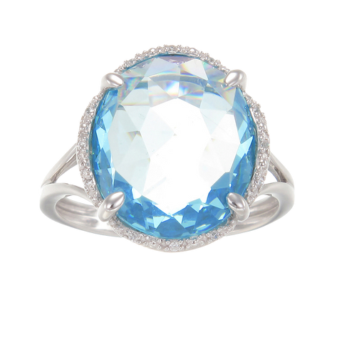 Luscious Cocktail Ring with Blue CZ
