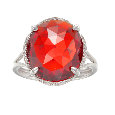 Luscious Cocktail Ring with Red CZ
