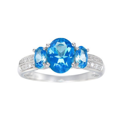 Trilogy Ring with Passion Topaz and Natural White Topaz