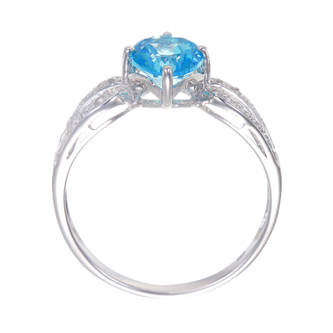 Elegant Split Band Ring with Passion Topaz and Natural White Topaz