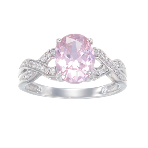 Elegant Pink Ring with Braided Band