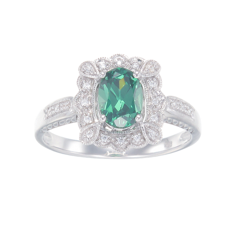 Green Scalloped Filigree Ring with Halo