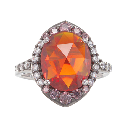 Glowing Firey Orange, Rhodolite and White AAA CZ Ring