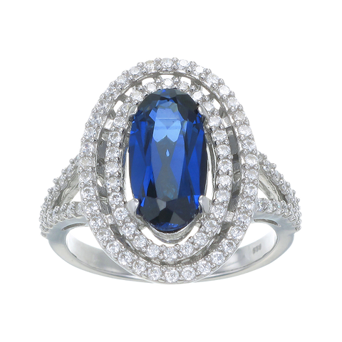 Double Halo Ring with Blue Sapphire