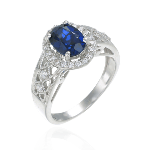 Blue Sapphire Ring with Sparkling Filigree Band